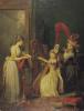 Harp lesson given by Madame de Genlis c.1842 by Jean Baptiste Marie Mauzaisse