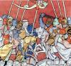 King Arthur in Combat by Robert de Barron by French School