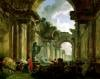 Imaginary View of the Grand Gallery of the Louvre in Ruins 1796 by Hubert Robert