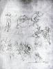 Study of figures for 'The Adoration of the Magi' by Leonardo da Vinci