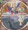 Historiated initial 'E' depicting Jonah Thrown into the Sea by French School