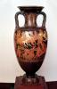 Attic red figure amphora depicting Ares and Aphrodite by Suessula Painter