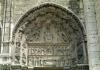 View of the tympanum depicting the Madonna and Child c.1145 by French School