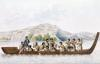 Dugout canoe piloted by natives of New Zealand by French School