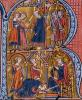 Historiated initial 'R' depicting the Sultan sending his messengers to the Caliph of Egypt by French School