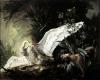 A Water Spaniel Attacking a Swan on its Nest 1740 by Jacques Charles Oudry
