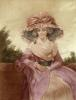 Lady with large bonnet (Restrike Etching) by Anonymous