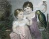 Girls with Parrot (Restrike Etching) by Anonymous