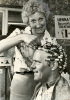 Mens hairdresser with curlers, 1970 by Mirrorpix