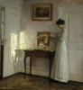 A Lady Reading in an Interior by Carl Holsoe