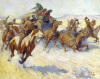 Indians Attacking Stagecoach, 1928 by William Henry Dethlef Koerner