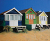 Beach huts in summer by Linda Monk