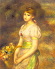 Young Girl With A Basket Of Flowers by Pierre Auguste Renoir