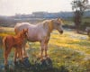Mare and Foal in a Field of Buttercups by Sir Alfred Munnings