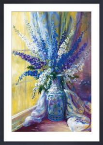 Delphiniums on a window sill by Elizabeth Parsons