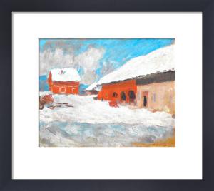 Les maisons rouges a Bjoernegaard, Norvege, 1895 by Claude Monet