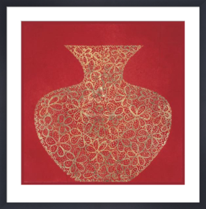 Red Vase (gold foil stamped) by Susan Gillette