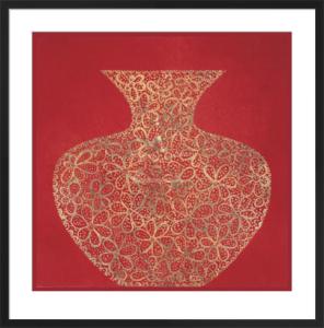 Red Vase (gold foil stamped) by Susan Gillette