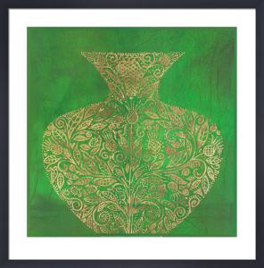 Green Vase (gold foil stamped) by Susan Gillette
