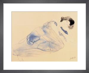 Femme vetue allongee sur flanc (small) by Auguste Rodin