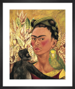 Self-Portrait with Monkey and Parrot, 1942 by Frida Kahlo
