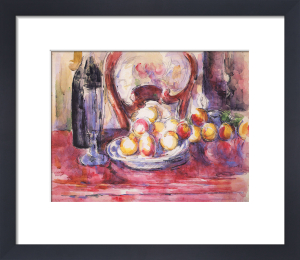 Apples, Bottle, and Chair Back by Paul Cezanne