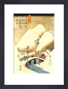 Man Crossing a Bridge by Utagawa Hiroshige
