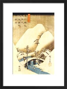 Man Crossing a Bridge by Utagawa Hiroshige I