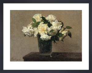 Still Life with White Roses by Ignace-Henri-Théodore Fantin-Latour