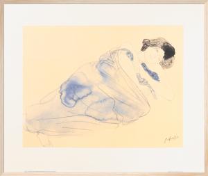 Femme vetue allongee sur flanc by Auguste Rodin