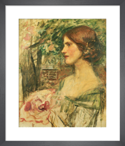 Portrait of a Lady in a Green Dress, or The Bouquet (Study) c.1908 by John William Waterhouse