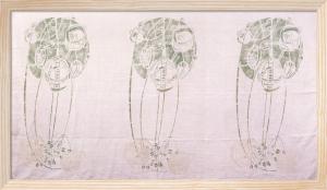 Three Stylised Rose Motifs in Green and Cream by Charles Rennie Mackintosh