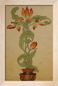 Design For Tulips In A Plant Pot by Koloman Moser
