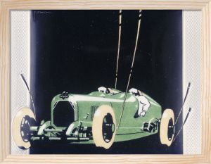 White Metal and Enamel Cigarette Case Depicting a Salmson Racing Car by F. Zwichl