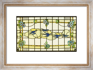 Stained Glass Panel of a Group of Swallows by Anonymous