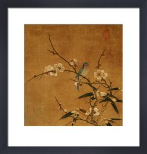 Blue Bird On A Plum Branch With Bamboo by Christie's Images