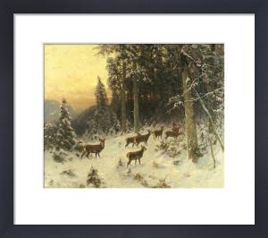 Deer In Winter Wooded Landscape, 1916 by Arthur Julius Thiele