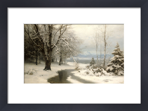 A Wooded Winter Landscape With A Stream And A Lake Beyond, 1889 by Anders Andersen-Lundby