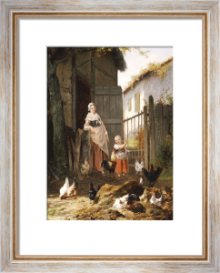 Feeding The Chickens by Eugene Remy Maes