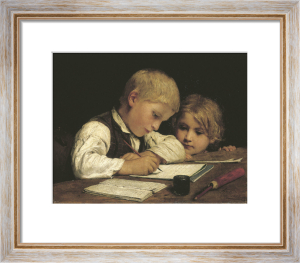 A Boy Writing, 1875 by Albert Anker