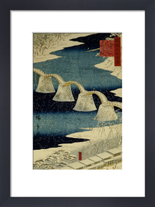 The Brocade Bridge In Snow. From The Series One Hundred Views of Famous Places by Ando Hiroshige