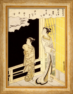 A Courtesan And Her Kamuro On A Veranda Watching Flying Geese In The Rain by Suzuki Harunobu