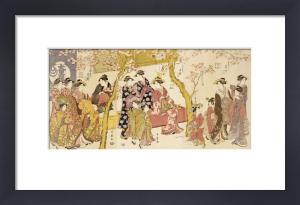 Three Groups Of Courtesans With Their Shinzo And Kamuro by Kitagawa Utamaro