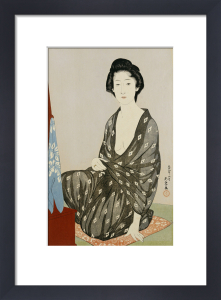A Beauty In A Black Kimono With White Hanabishi Patterns Seated Before A Mirror, 1920 by Hashiguchi Goyo