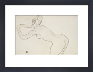 Female Nude Kneeling And Bending Forward To The Left,1918 by Egon Schiele