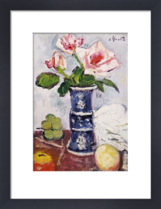 Pink Roses in a Chinese Blue and White Vase by Leslie Hunter