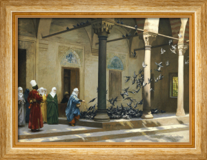 Harem Women Feeding Pigeons In A Courtyard by Jean-Leon Gerome