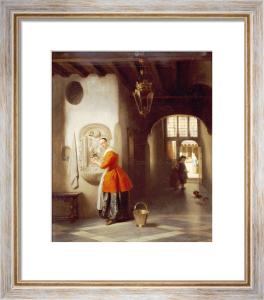 A Maid In A Hallway, 1849 by Hubertus Van Hove