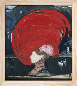 A Lady In A Large Red Hat by Leo Schnug