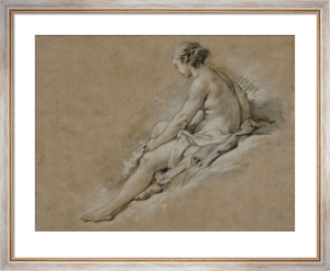 A Nude Girl Seated by Francois Boucher